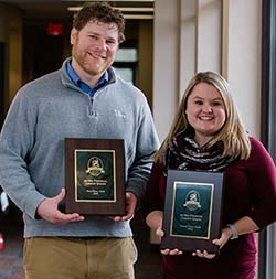 (L to R) Altra's Tony Beyer and Danielle Anderson show off their awards presented at a recent chapter meeting